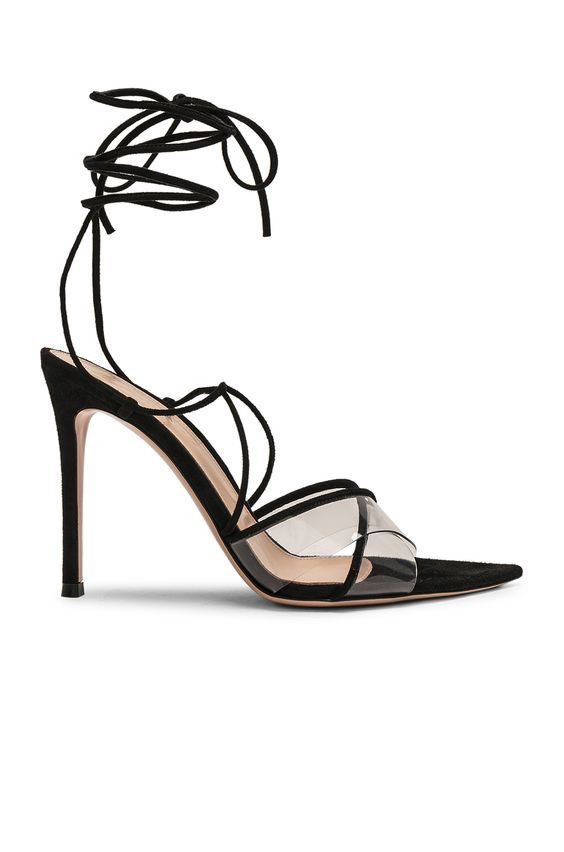 GIANVITO ROSSI Plexi Camoscio Tie Heels $895