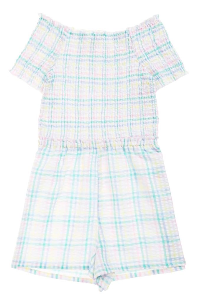 Plaid Smocked Seersucker Romper SEED HERITAGE $40.00