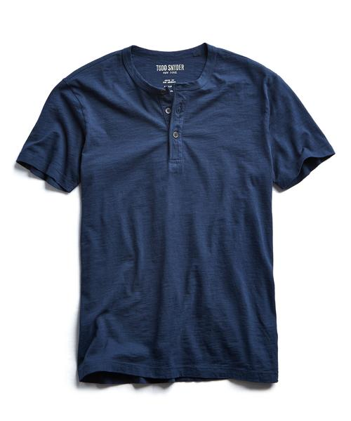 MADE IN L.A. SHORT SLEEVE HENLEY IN NAVY $88.00