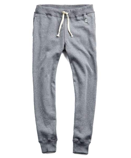TERRY SLIM JOGGER SWEATPANT IN LIGHT GREY MIX $118.00