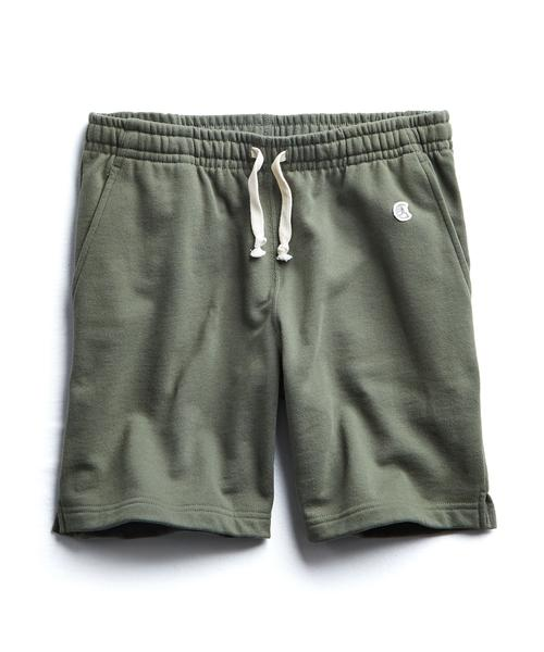 TERRY WARM UP SHORT IN OLIVE GROVE $88.00