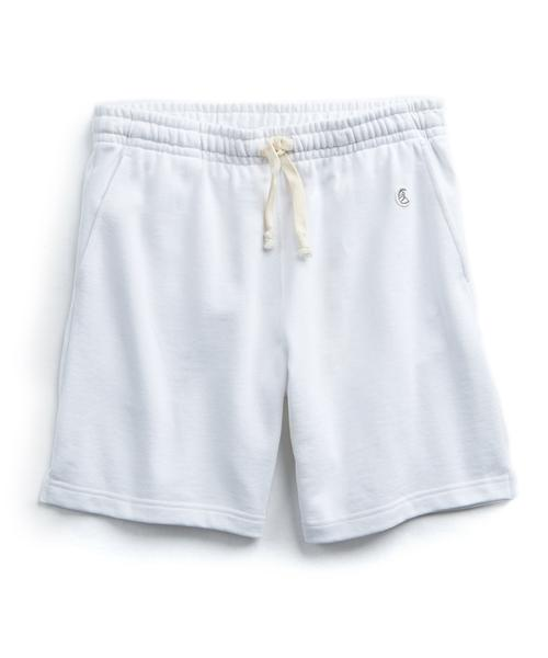 TERRY WARM UP SHORT IN WHITE $88.00