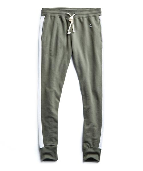 SLIM JOGGER SWEATPANT WITH SIDE STRIPES IN OLIVE GROVE $138.00