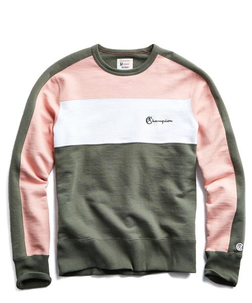 PIECED CREWNECK SWEATSHIRT IN OLIVE AND PINK $168.00