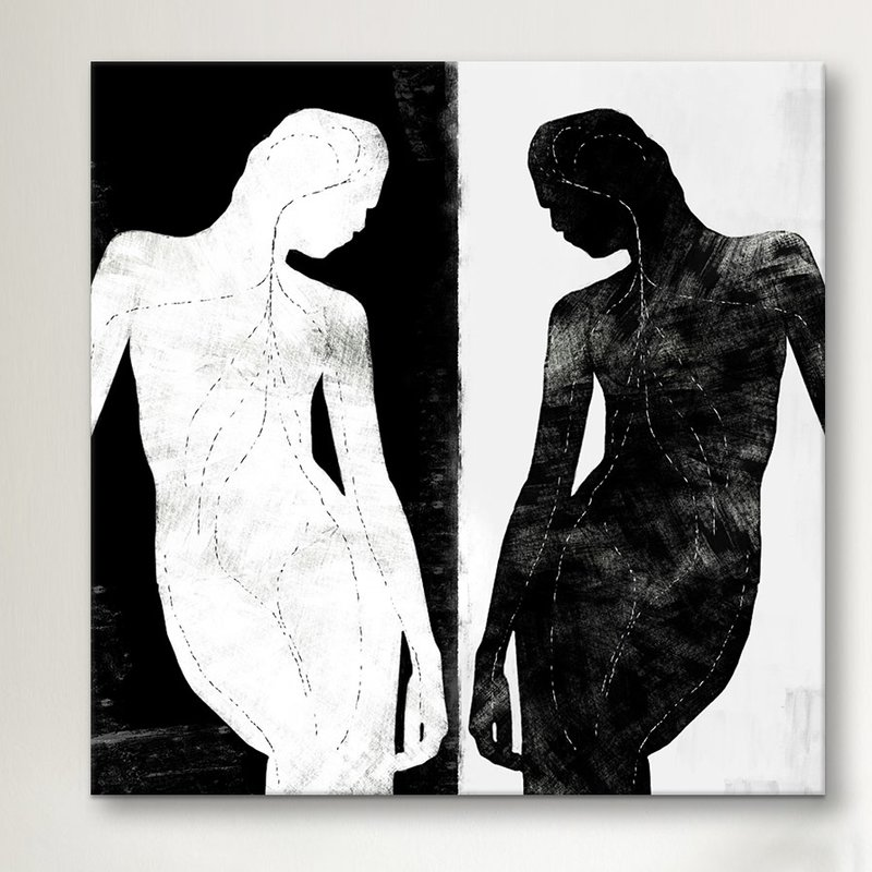 Modern Contrasting Silhouette Figure Graphic Art $44.99