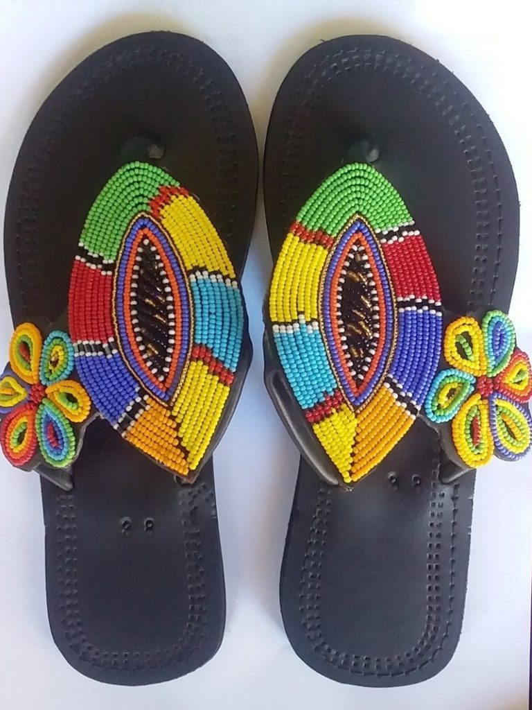 African sandals Maasai beaded shoes $28.24
