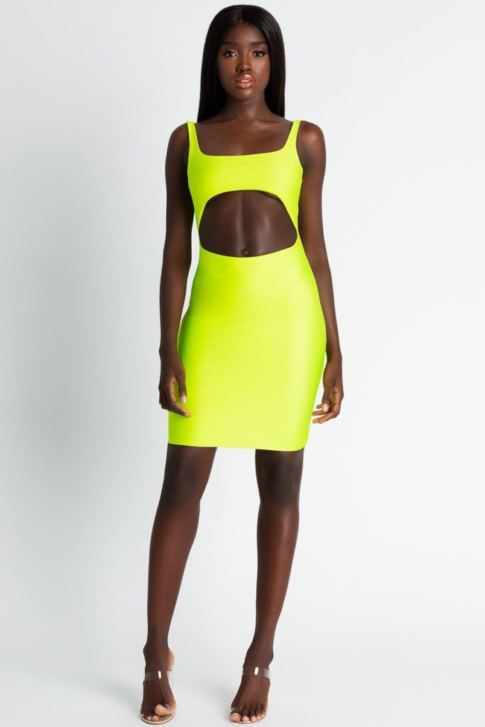 ELLIANA CUT OUT MINI DRESS - NEON YELLOW $29.48