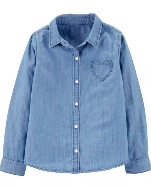 Denim Heart Button-Front Shirt $11.20