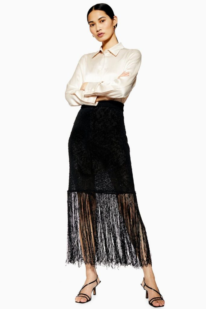 Fringe Knit Skirt by Boutique $150.00