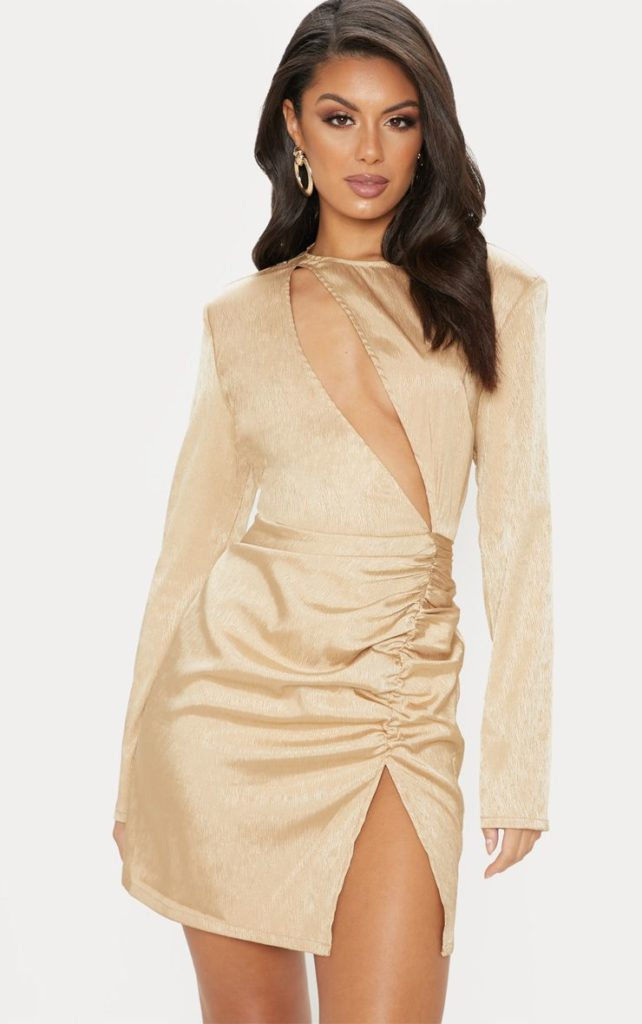 CHAMPAGNE SATIN EXTREME PLUNGE RUCHED BODYCON DRESS  $55.00