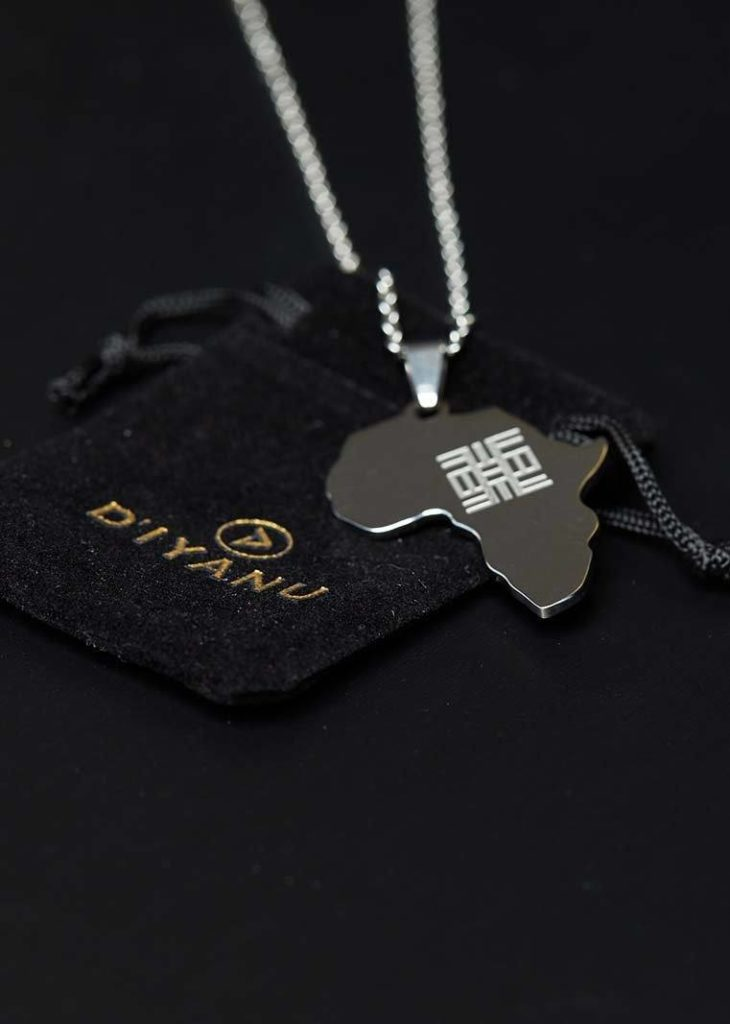 Adinkra Africa Map Silver Necklace- Knowledge Symbol $24.99