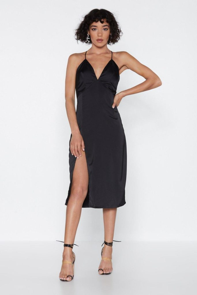 Leg Up on the Competition Satin Midi Dress $30.00