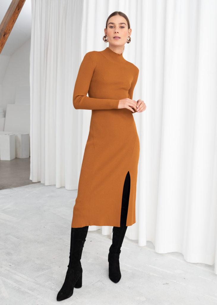 Ribbed Turtleneck Midi Dress $119