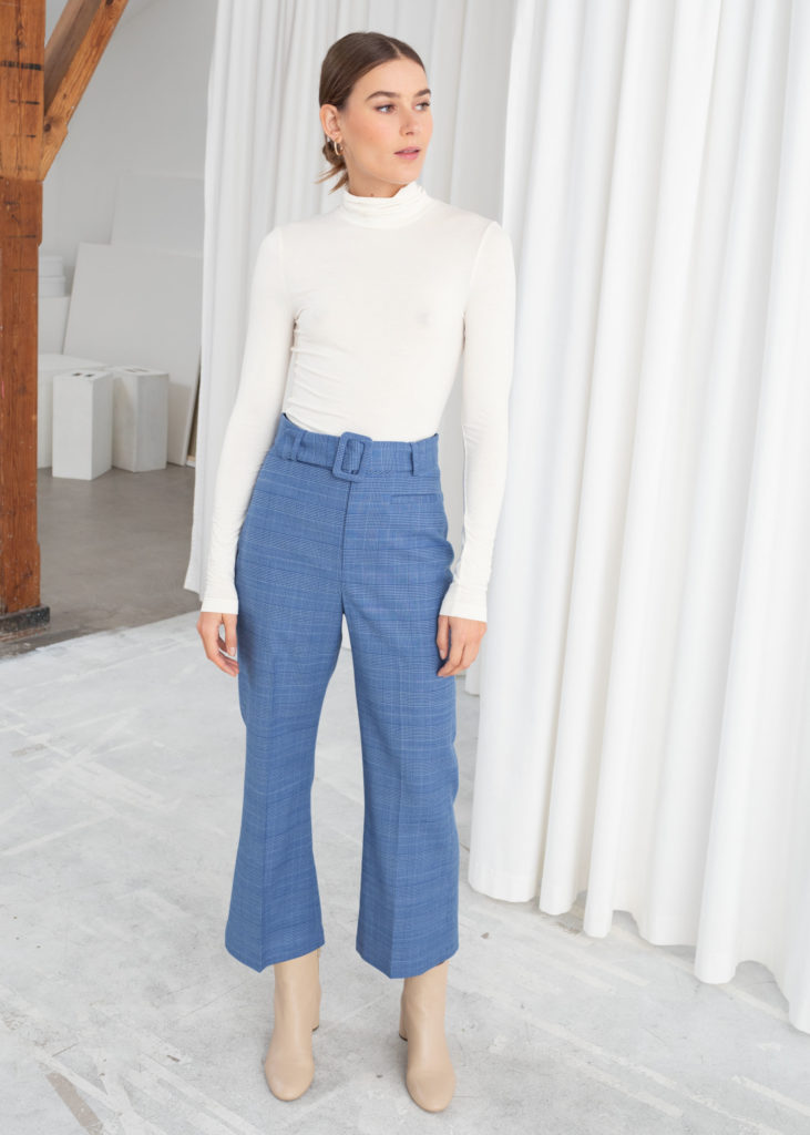 Belted Plaid Trousers $99