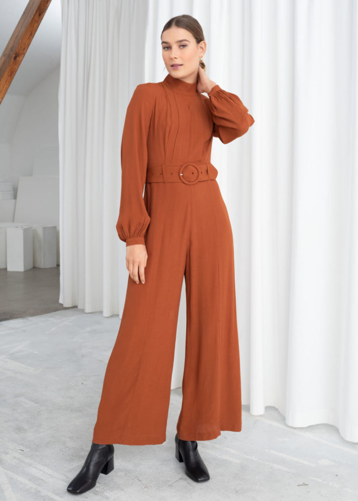 Long Sleeve Belted Jumpsuit $129