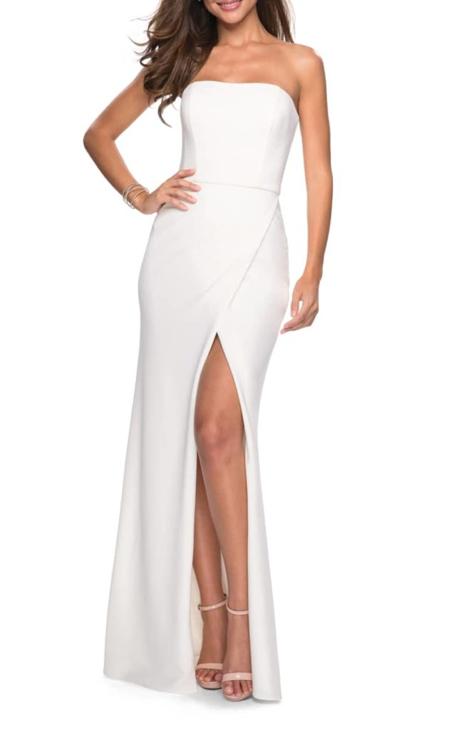 Strapless Jersey Evening Dress LA FEMME $298.00