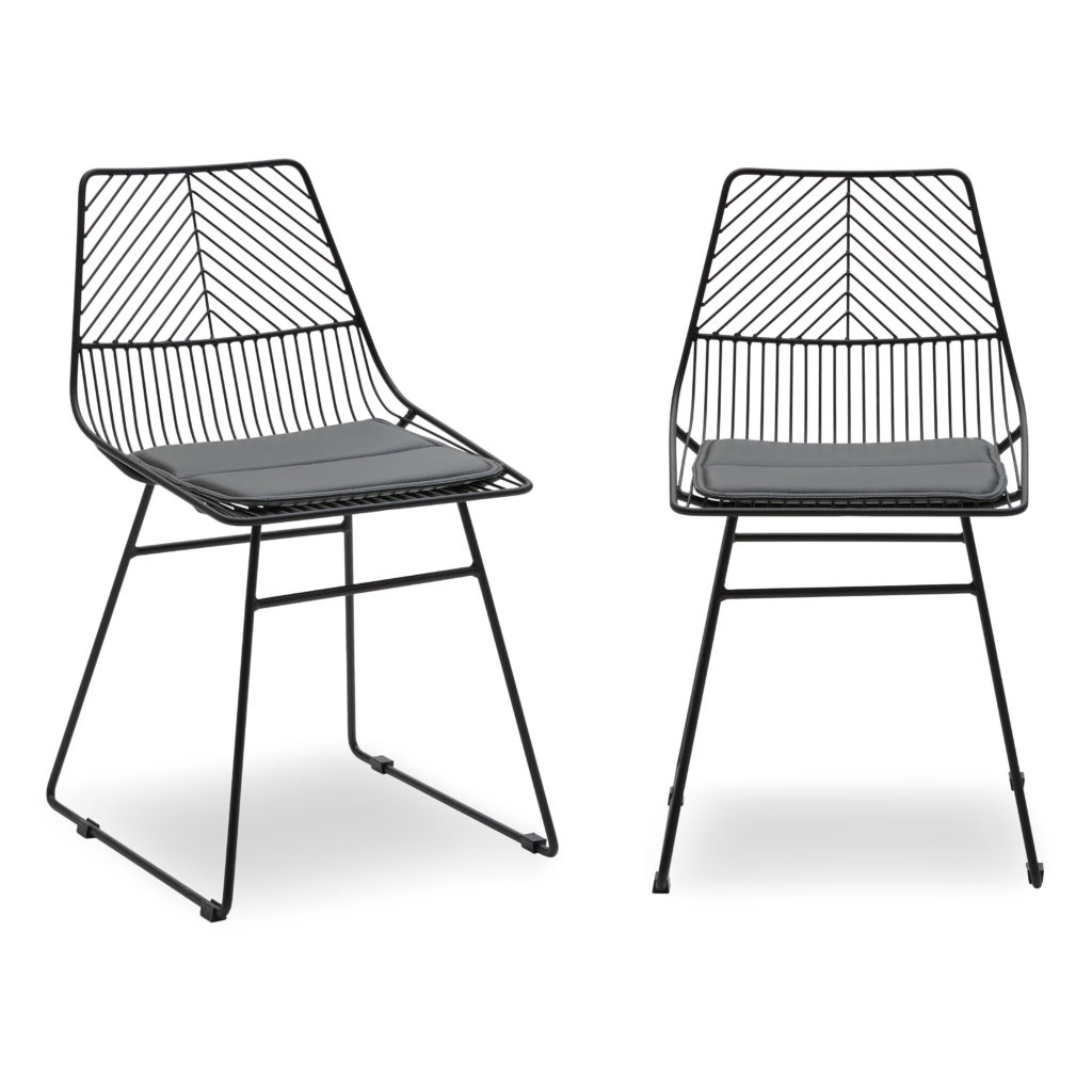Scandinavian Metal Dining Chair with Cushion, Set of 2 $129.00