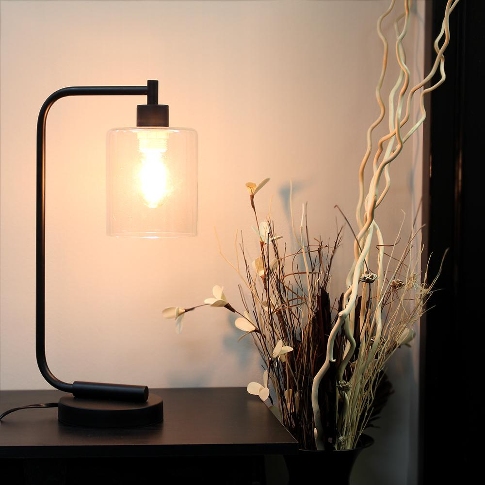 Bronson Antique Style Black Industrial Iron Lantern Desk Lamp $32.27