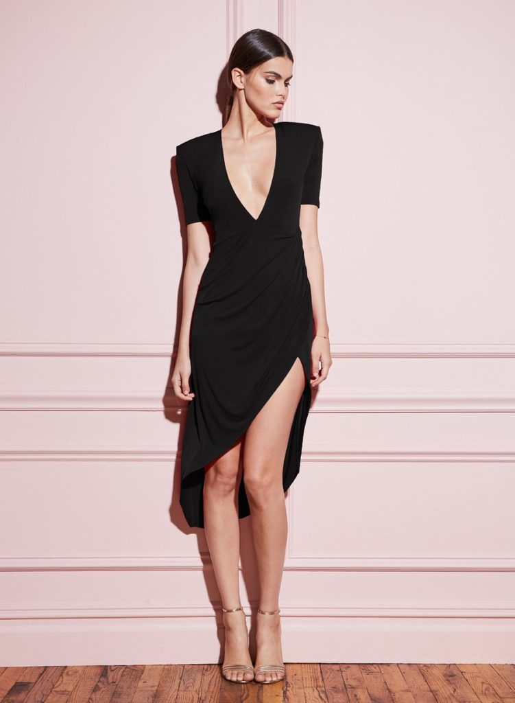 DEEP V JERSEY DRAPED DRESS $425.00