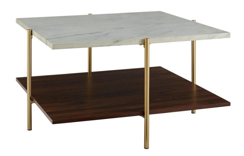 Mid Century Square Coffee Table in Marble & Gold $153.33
