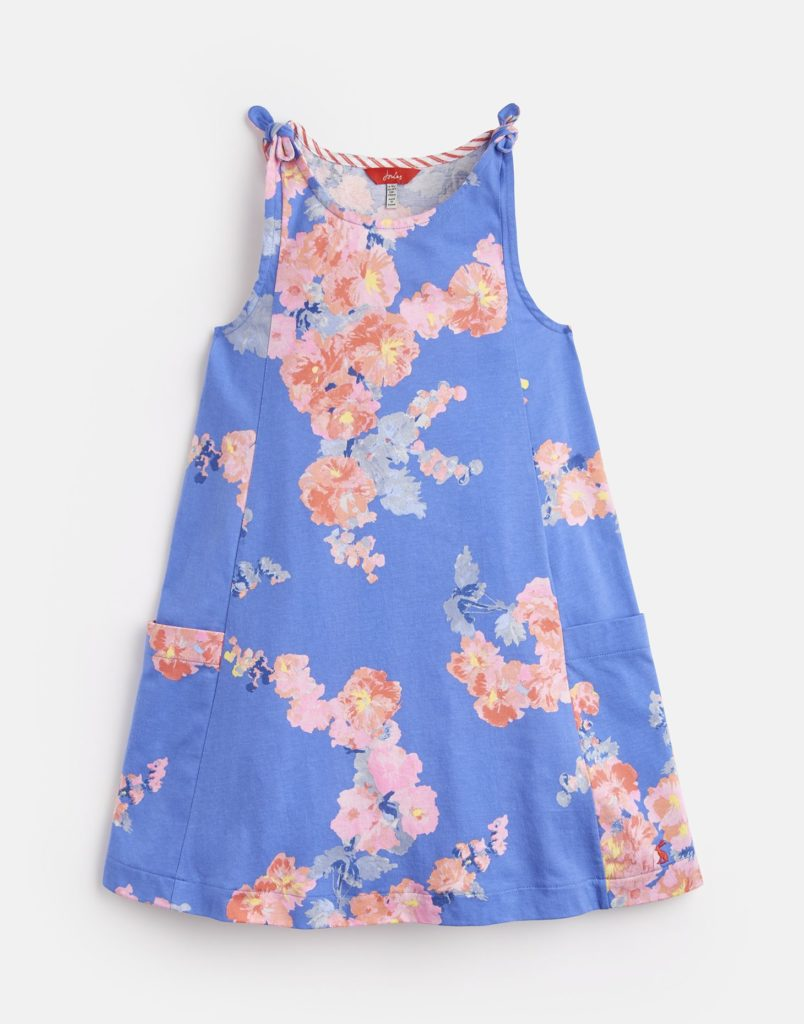MADELINE JERSEY TIE DRESS 3-12 YR BLUEFLORAL $37.95