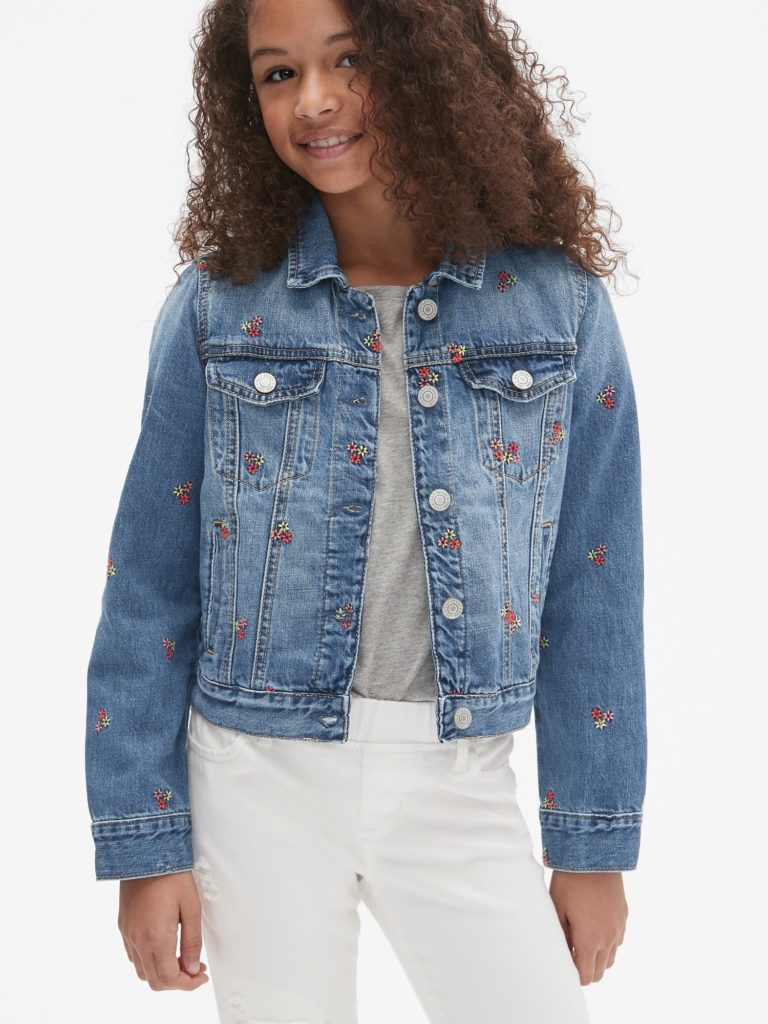 Icon Embroidered Denim Jacket $40.00