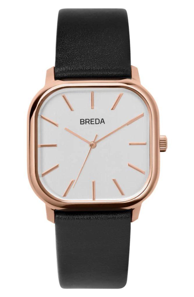 Visser Square Leather Strap Watch, 35mmBREDA $90.00