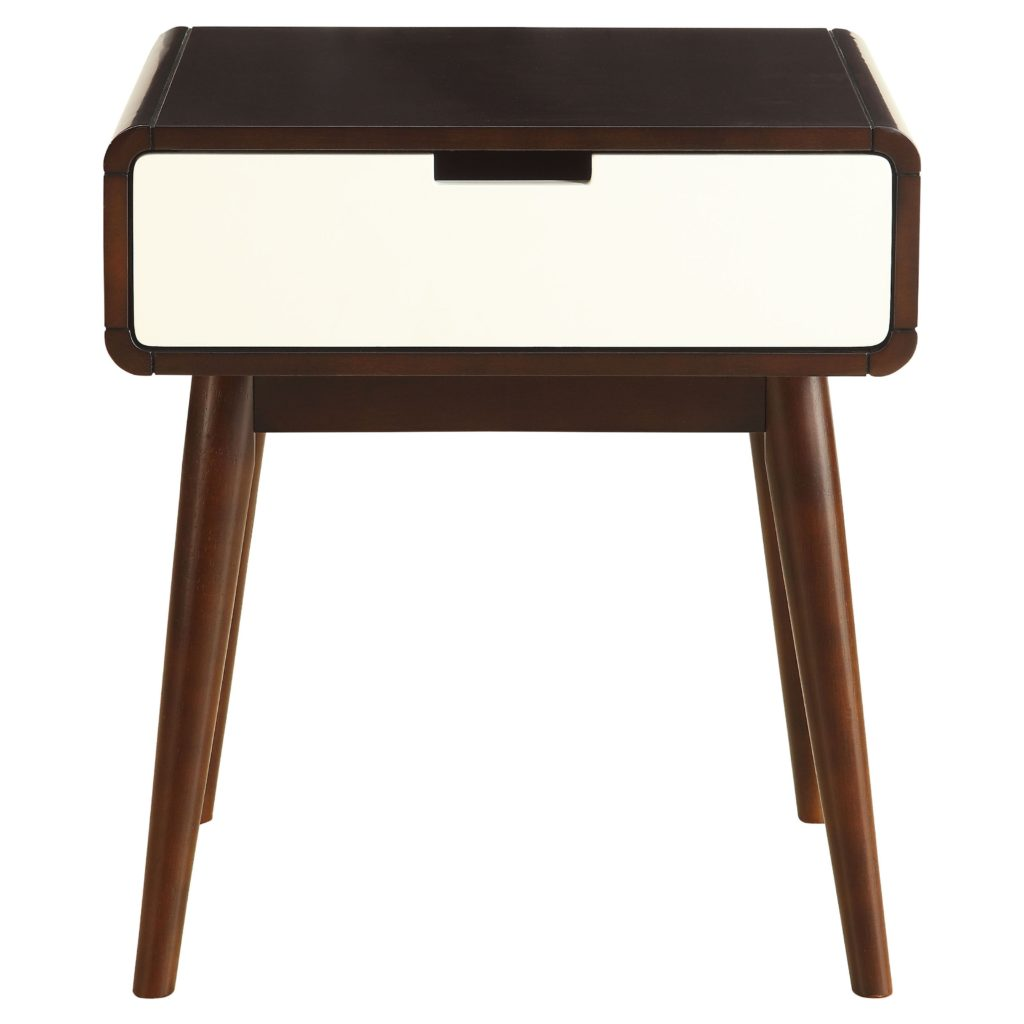 ACME Christa End Table, Walnut and White $104.16