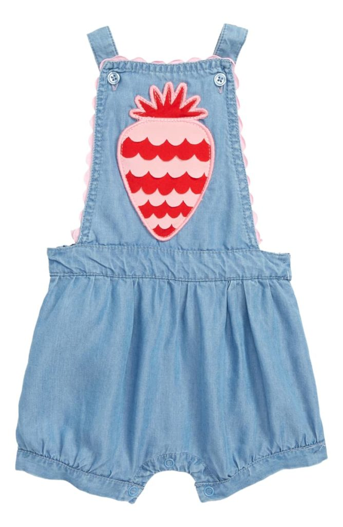 Scallop Strawberry Chambray Romper SEED HERITAGE $30.00