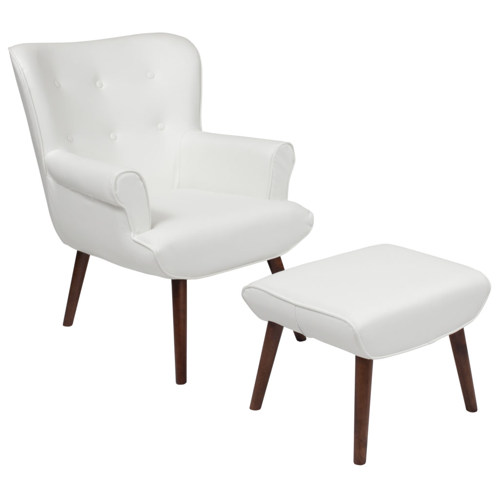 Wingback Chair with Ottoman in White Leather $219.46