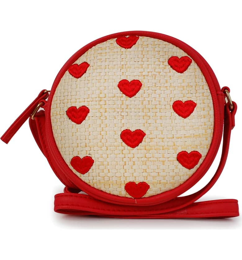 Heart Embroidered Straw Canteen Crossbody Bag, Main, color, RED $22.00