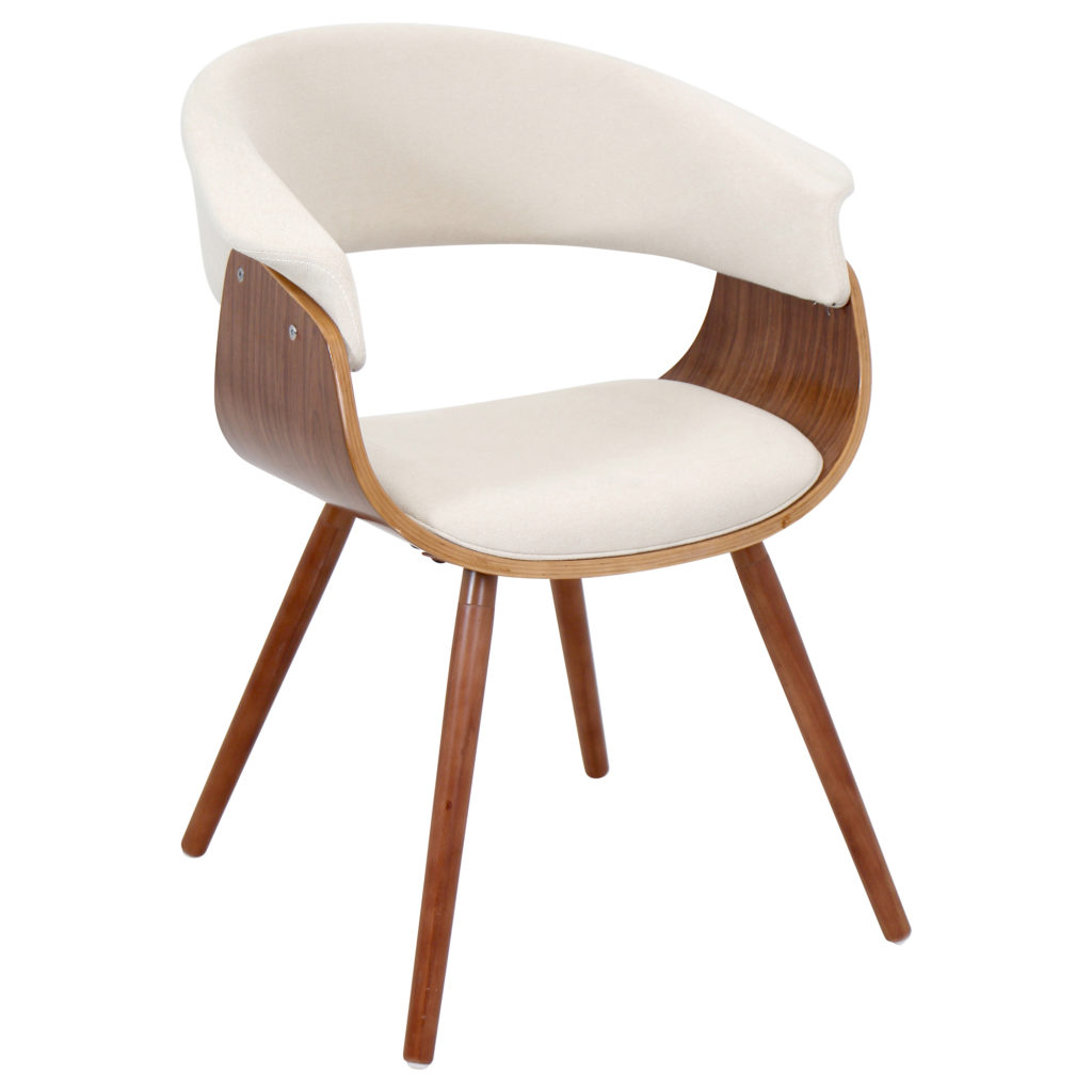 Mid-Century Modern Chair in Walnut and Cream Fabric by LumiSource $120.30