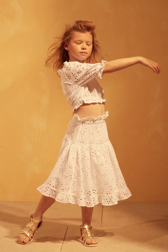 MIA SKIRT - WHITE EYELET $58.80