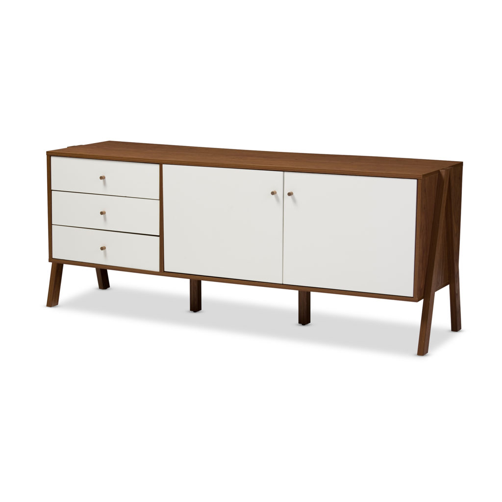 Modern Scandinavian Style White and Walnut Wood Sideboard Storage Cabinet $179.00