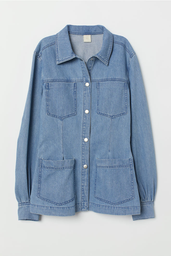 Denim Shirt with Puff Sleeves $54.99