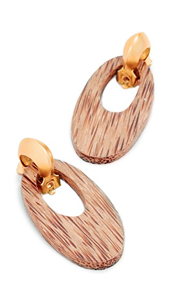Kenneth Jay Lane Gold and Wood Drop Earrings $38.00