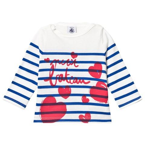 Petit Bateau Blue and Off White Stripe Heart Print Long Sleeve Baby T-Shirt $27.00