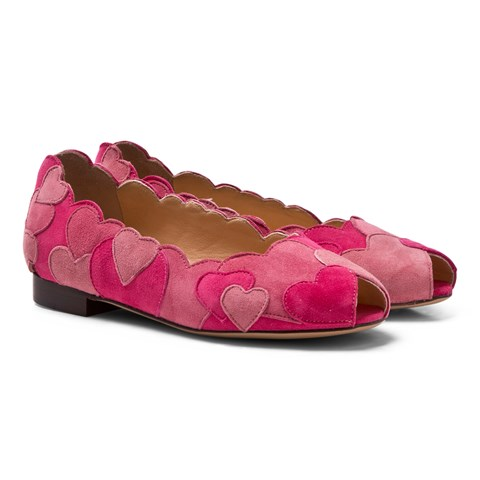 Charlotte Olympia Pink Incy Love Me Heart Applique Flats $356.80