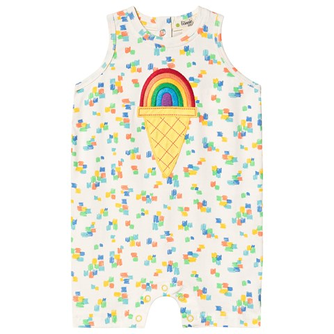 The Bonnie Mob White Rainbow Ice Applique Sleeveless Romper $39.00
