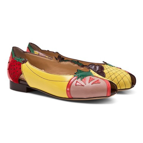 Charlotte Olympia Multi Incy Tutti Frutti Peep Toe Flats $296.80