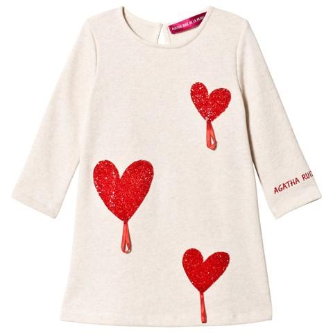 Agatha Ruiz de la Prada White and Red Crystal Heart Dress $32.30