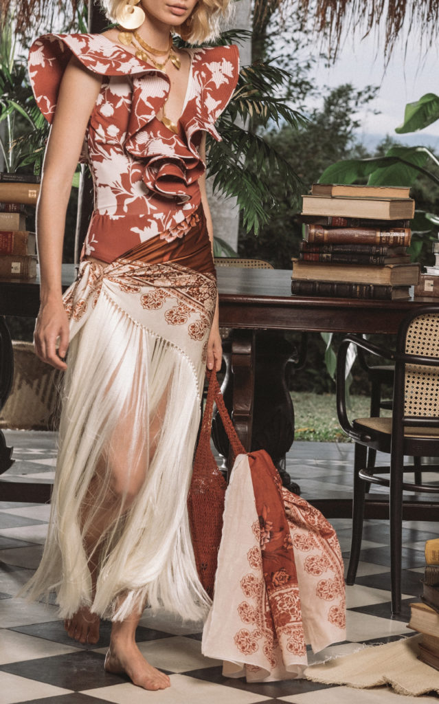 Johanna Ortiz Light My Fire Fringed Printed Silk-Satin Pareo $475