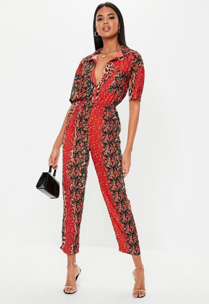 red animal floral print jumpsuit $52.00