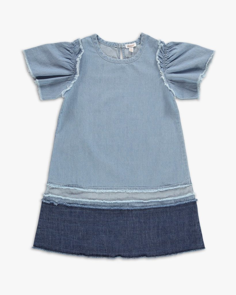Girl Mixed Denim Fray Hem Dress $52.00