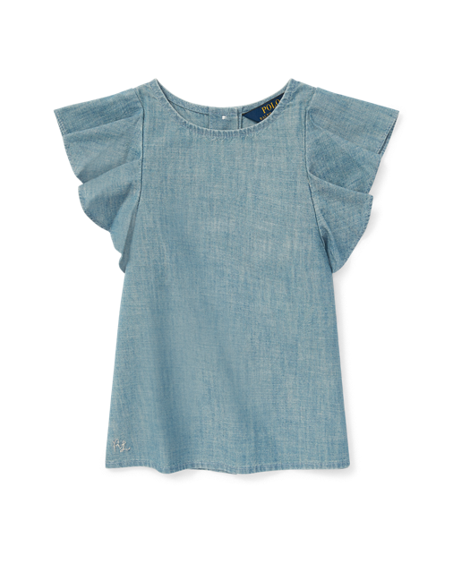 Chambray Flutter-Sleeve Top $33.99