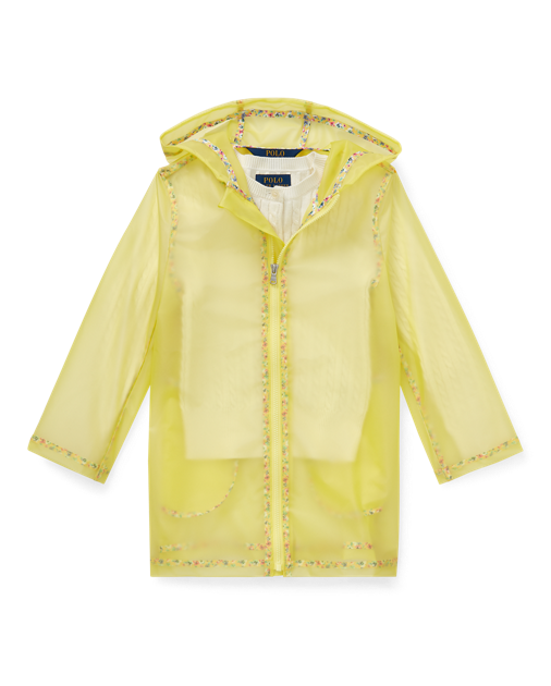 Sheer Floral-Trim Raincoat $89.50