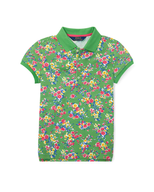 Floral Stretch-Mesh Polo Shirt $45.00