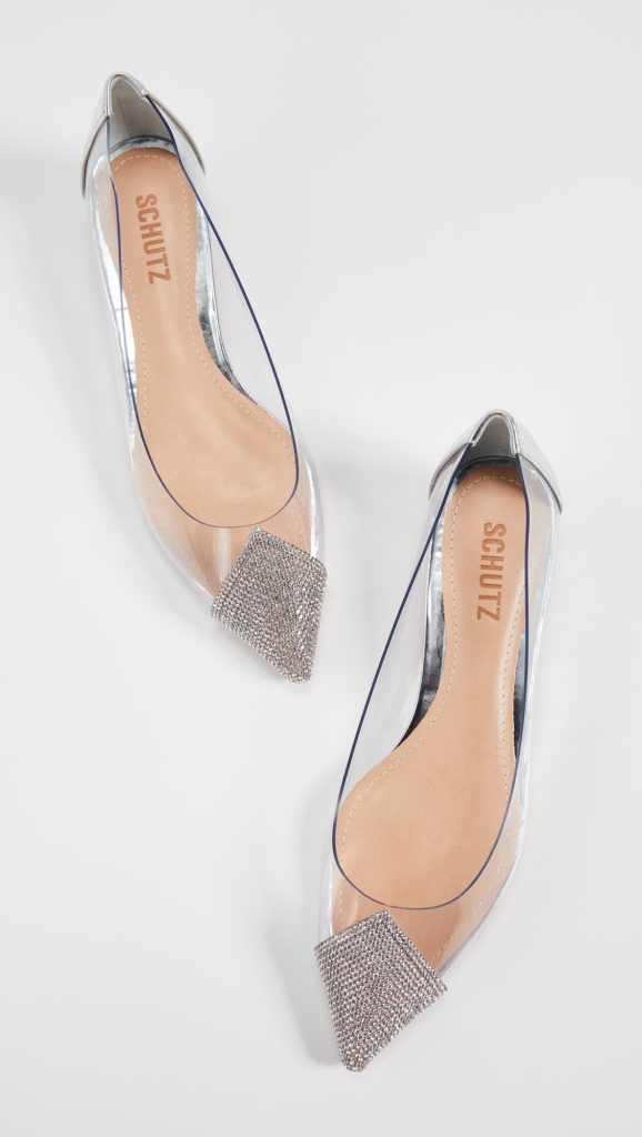 Schutz Taia Point Toe Vinyl Flats $175.00