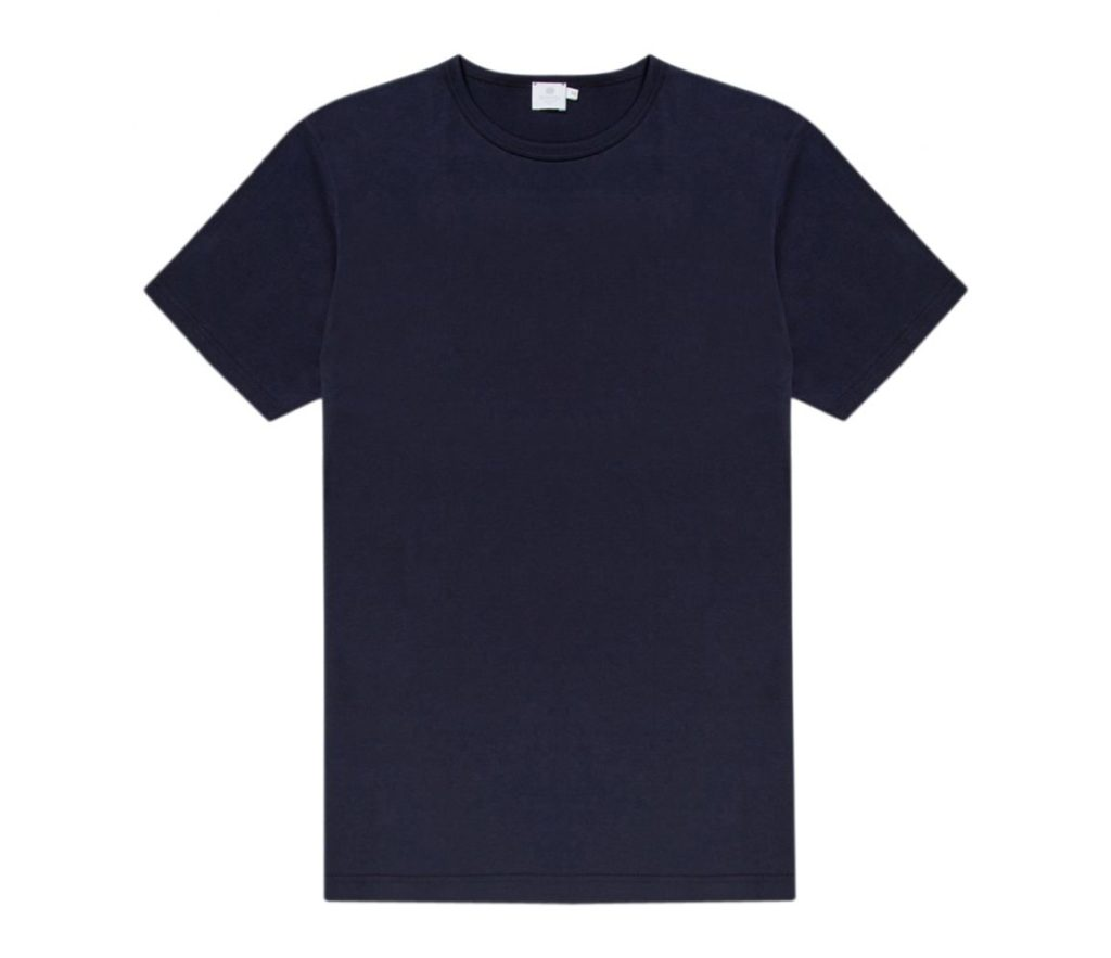 NAVY COTTON SHORT SLEEVE CLASSIC CREW NECK T-SHIRT $50.00