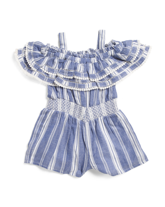 ARTISAN NY Toddler Girls Striped Off The Shoulder Ruffle Romper $12.99